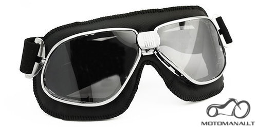 NANNINI Biker chrome/black tamsintas stiklas