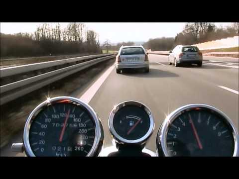 Suzuki Bandit 1200 N, offen, 112 PS mit Termignoni, V-max 250 km/h auf der A5