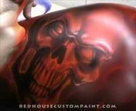 RedHouse Custom Paint, Inc. Airbrushing a blazing skull