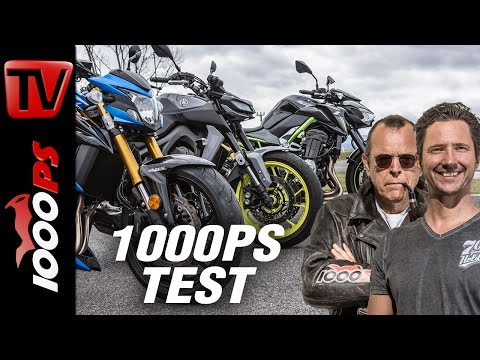 1000PS Test - Nakedbike Vergleich 2017 - GSX-S 750 vs. MT-09 vs. Z900 - ENGL Subs