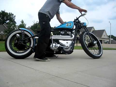 "Kustom 1960 Triumph ""Low Tide Larry"" TR6 bobber chopper being kick started, JUST FINISHED!"