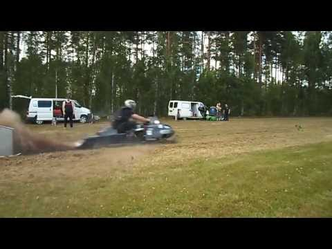 Snowmobile on the grass! That's speed!