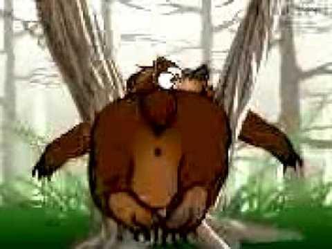Заяц трахнул в жопу медведя.