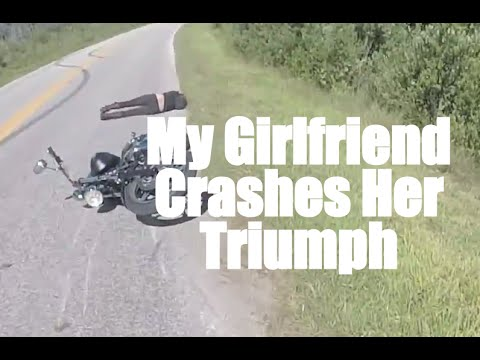 My Girlfriend Wrecks her Motorcycle : Double Crash