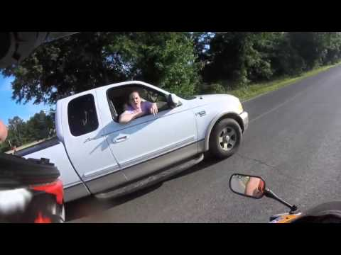 JUSTICE SERVED TO DRIVER THAT ALMOST HITS MOTORCYCLIST!