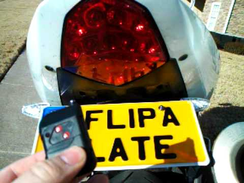 License plate flipper, fits Suzuki, Honda, Yamaha, Kawasaki, and more