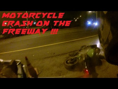 CRAZY MOTORCYCLE CRASH ON THE FREEWAY