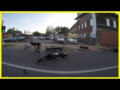 Motorcycle Accident Harley Rider Crashes Into Light Pole At Ride Of The Century 2015