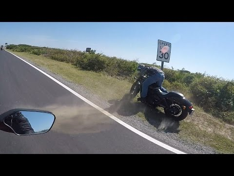 Motorcycle Crash - Bike Hits Speed Sign