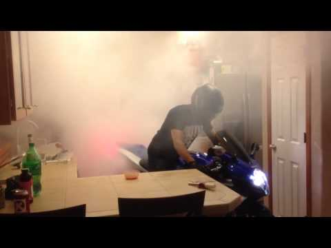 GSXR burnout in the kitchen