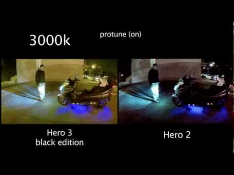 GoPro Hero 3 / 2 Low Light Comparison - Auto and 3k with protune