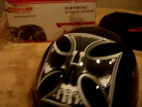 DOT Outlaw Gloss Black with Cross Skull Half Helmet