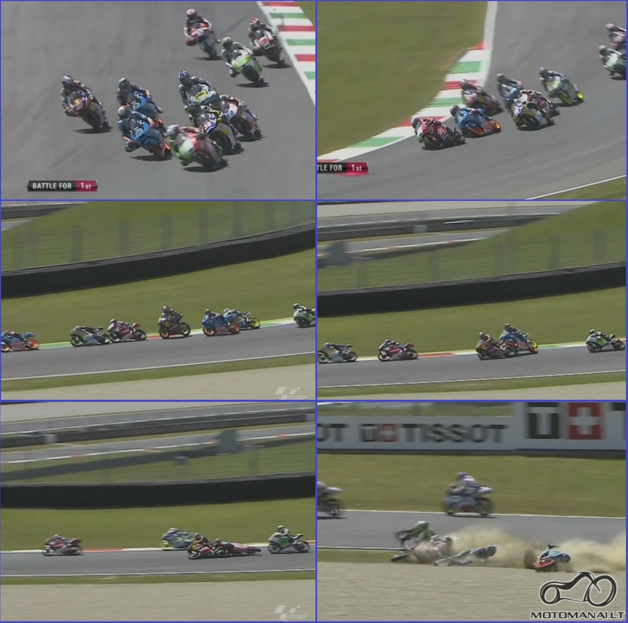 2014 Moto3 Italijoje: Kaip Milleris bande iskart 3 aplenkti.