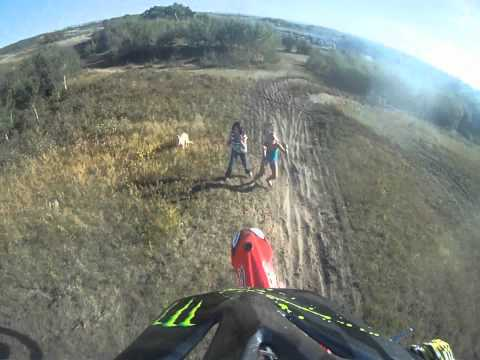 Dirt Bike Lands on Chick CRASH HUGE!!!!!!!